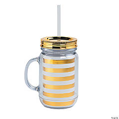 Gold & White Striped Plastic Jar with Straw & Lid