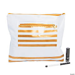Gold & White Zipper Makeup & Swimsuit Bag