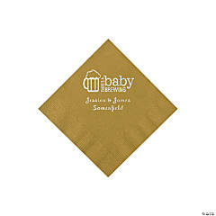 Gold Baby Brewing Personalized Napkins with Silver Foil - Beverage