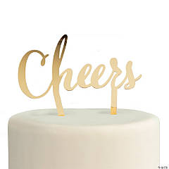 Gold Cheers Cake Topper