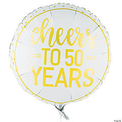 Gold Cheers to 50 Years Mylar Balloon