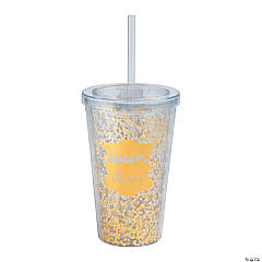 Gold Cheers Tumbler with Straw & Lid