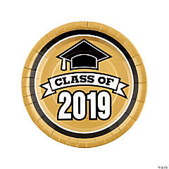 Gold Class of 2019 Paper Dinner Plates - 25 Ct.