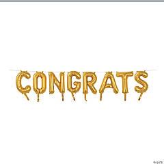 "Gold Congrats 16"" Mylar Balloon Banner"