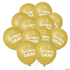 Gold Congrats Grad Latex Balloons
