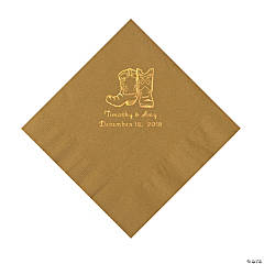 Gold Cowboy Boots Personalized Napkins with Gold Foil - Luncheon