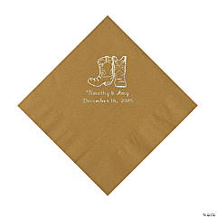 Gold Cowboy Boots Personalized Napkins with Silver Foil - Luncheon