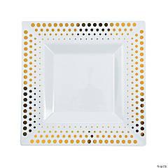 Gold Dot Square Plastic Dinner Plates - 25 Ct.