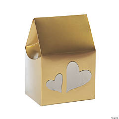 Gold Favor Boxes with Heart Cutouts