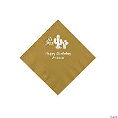 Gold Fiesta Personalized Napkins with Silver Foil - Beverage