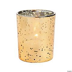 Gold-Flecked Mercury Glass Votive Holders - 12 Pc.