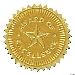 Gold Foil Embossed Seals, Award of Excellence, 54 per Pack, 3 Packs
