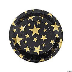 Gold Foil Star Paper Dinner Plates - 8 Ct.