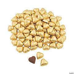 Gold Foil-Wrapped Milk Chocolate Hearts