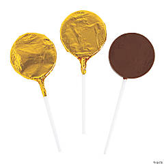 Gold Foil-Wrapped Round Chocolate Lollipops