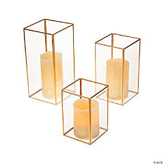 Gold Geometric Square Candle Holders with Battery-Operated Candles