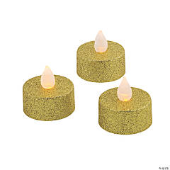 Gold Glitter Battery-Operated LED Tea Light Candles
