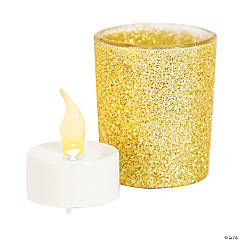 Gold Glitter Glass Votive Candle Holders with Battery-Operated Tea Light Candles
