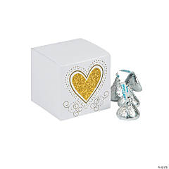 Gold Glitter Heart Favor Boxes