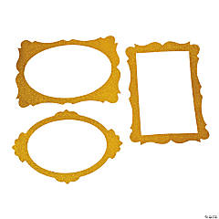Gold Glitter Photo Booth Frames - 3 Pc.