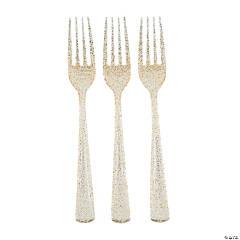 Gold Glitter Plastic Forks - 48 Ct.