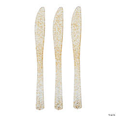 Gold Glitter Plastic Knives - 48 Ct.