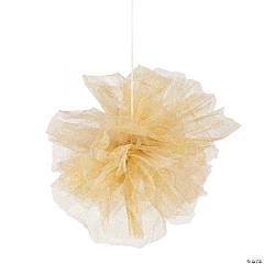 Gold Glitter Tulle Pom-Pom Decorations