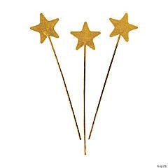 Gold Glittery Star Wands