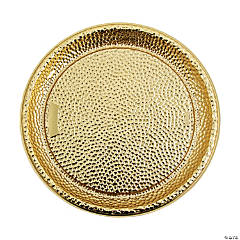 Gold Hammered Design Serving Tray