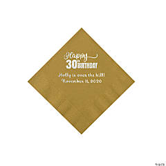 Gold Happy 30th Birthday Personalized Napkins with Silver Foil - Beverage