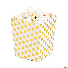 Gold Hearts Popcorn Boxes