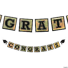 Gold Holographic Congrats Graduation Garland