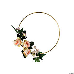 Gold Hoop Decoration with Peach Floral Accents