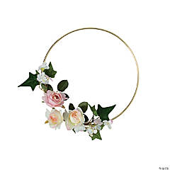 Gold Hoop Decoration with Pink Floral Accents