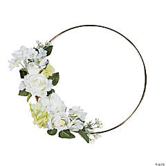 Gold Hoop with White Floral Accent