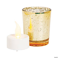 Gold Mercury Glass Votive Candle Holders with Battery-Operated Candles