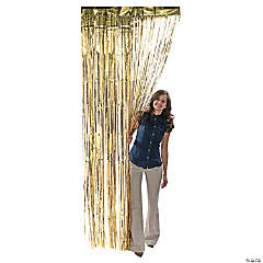 Gold Metallic Fringe Door Curtain