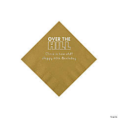 Gold Over the Hill Personalized Napkins with Silver Foil - Beverage