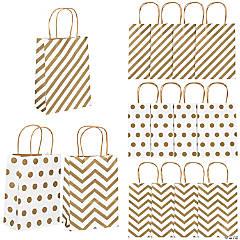 Gold Pattern Metallic Kraft Paper Bags