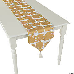 Gold Patterned Table Runner with Tassels