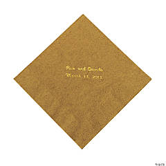 Gold Personalized Napkins with Gold Foil - Luncheon