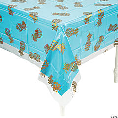 Gold Pineapple Clear Tablecloth