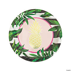 Gold Pineapple Paper Dinner Plates - 8 Ct.