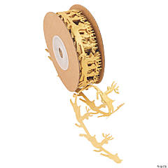 Gold Reindeer Die-Cut Ribbon - 1""