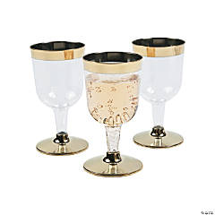 Gold Rimmed Mini Wine Glasses