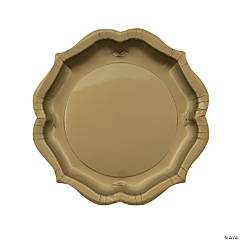 Gold Scalloped Paper Dinner Plates - 8 Ct.