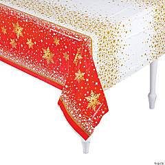 Gold Sparkle Christmas Plastic Tablecloth