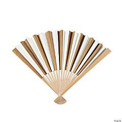 Gold Stripe Folding Hand Fans