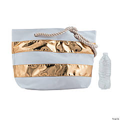 Gold Stripe Tote with Rope Handles