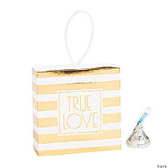 Gold Striped Pull Favor Boxes